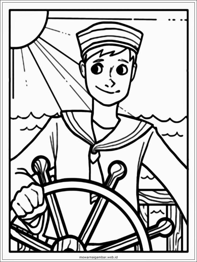 mewarnai gambar profesi pelaut – 1